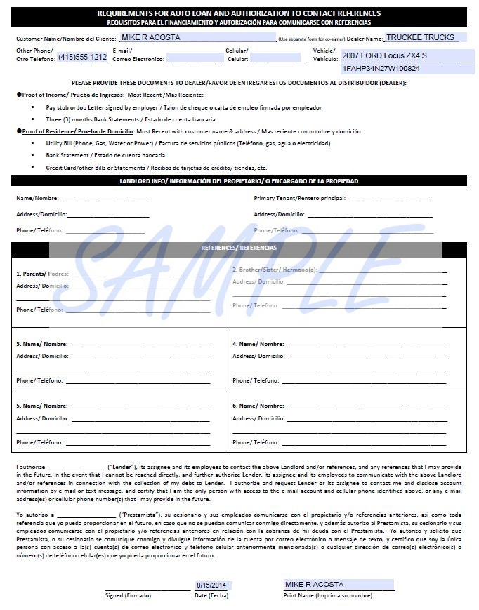 Printerformsz sample e forms view requirements for auto loan authorization to contact references altavistaventures Images