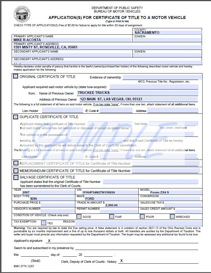 Application for Texas Title and/or Registration (Form 13