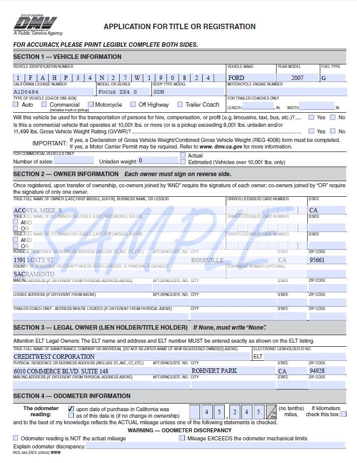 california dmv registration forms