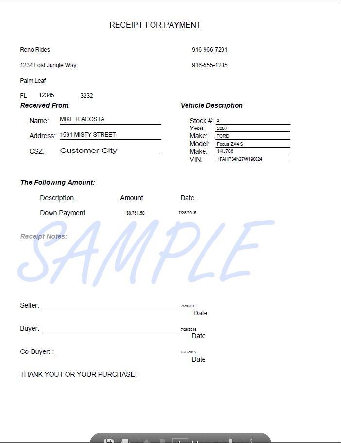 Printerformsbiz Sample EForms – Down Payment Receipt